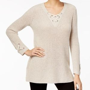 Style & Co Chunky Knit Sweater Laceup Details NWT
